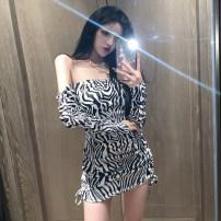 Dress Summer 2021 Zebra S,M,L Short skirt singleton  Long sleeves One word collar Zebra pattern One pace skirt 18-24 years old Type A Peipei clothing