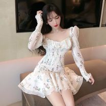 Dress Spring 2021 Picture color Average size Short skirt singleton  Long sleeves Sweet square neck High waist Decor Socket Ruffle Skirt routine 18-24 years old Other / other Pleating 81% (inclusive) - 90% (inclusive) Mori