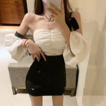 Fashion suit Spring 2021 S. M, l, average size White top, back skirt 18-25 years old D6369