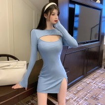 Dress Summer 2021 Blue, black, pink S,M,L Miniskirt singleton  Long sleeves commute High waist Solid color Socket A-line skirt routine Others 18-24 years old Type A Ol style 51% (inclusive) - 70% (inclusive) other cotton