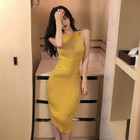 Dress Summer of 2019 Average size Mid length dress singleton  Sleeveless High waist Solid color One pace skirt Hanging neck style 18-24 years old Type A Other / other