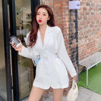 Dress Spring 2021 White, black S,M,L Short skirt singleton  Long sleeves commute square neck High waist Solid color A-line skirt routine Others 18-24 years old Type A Korean version