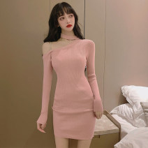 Dress Winter 2016 Black, bean red Average size singleton  Long sleeves commute Solid color Socket routine Others 18-24 years old Korean version Hollowing, chain, splicing 31% (inclusive) - 50% (inclusive) other