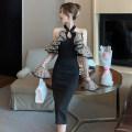 Dress Spring 2021 black S,M,L Mid length dress singleton  Long sleeves High waist A-line skirt pagoda sleeve 18-24 years old