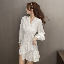 Dress Spring 2021 white S,M,L Short skirt singleton  Long sleeves commute High waist Solid color A-line skirt 18-24 years old Type A Lotus leaf edge