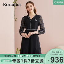 Dress Autumn 2020 black S M L XL 2XL Middle-skirt singleton  Nine point sleeve commute V-neck middle-waisted lattice zipper A-line skirt routine 35-39 years old Type A Koradior / coretti Simplicity Splicing KF04235W0 30% and below polyester fiber