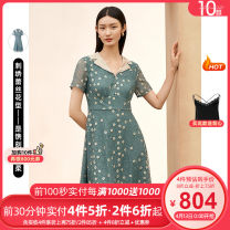 Dress Spring 2021 Light blue green S M L XL 2XL Mid length dress singleton  Short sleeve commute middle-waisted Decor Socket routine 30-34 years old Type X Koradior / coretti lady Patchwork lace More than 95% polyester fiber Polyester 100%