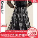 skirt Winter 2020 S M L XL 2XL black Mid length dress commute Natural waist A-line skirt stripe Type A 30-34 years old KW01158W0 More than 95% other Koradior / coretti polyester fiber Fold splicing lady Polyester 100%