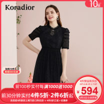 Dress Summer 2020 black S M L XL 2XL Middle-skirt singleton  Short sleeve commute stand collar middle-waisted Solid color Socket A-line skirt routine 30-34 years old Koradior / coretti lady Pleated lace KF04861W0 More than 95% polyester fiber Polyester 100%