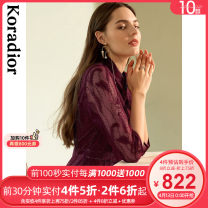 Dress Autumn 2020 Rose red S M L XL 2XL Middle-skirt singleton  three quarter sleeve commute Crew neck middle-waisted Solid color Socket A-line skirt routine 35-39 years old Koradior / coretti lady Splicing KF04322U6 More than 95% nylon Polyamide fiber (nylon) 100%