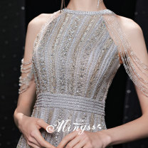 Dress / evening wear Weddings, adulthood parties, company annual meetings, daily appointments XS S M L XL XXL Gray blue Retro longuette middle-waisted Spring 2021 Self cultivation Hanging neck style zipper 18-25 years old Nail bead Solid color Mingshang yarn other Polyester 100% Crystal tube