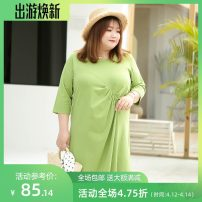 Women's large Summer 2020 Three, four, five, six, seven, eight, nine Dress singleton  commute easy moderate Conjoined three quarter sleeve Solid color lady Crew neck Cotton, others Three dimensional cutting routine miss38 25-29 years old 91% (inclusive) - 95% (inclusive) Medium length