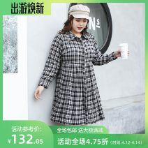Women's large Spring 2021 Black and white Three, four, five, six, seven, eight, nine Dress singleton  commute easy moderate Conjoined Long sleeves lattice Polo collar Polyester, cotton Three dimensional cutting routine miss38 30-34 years old Button 81% (inclusive) - 90% (inclusive) Medium length