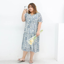 Women's large Summer 2021 Blue flower on apricot ground Three, four, five, six, seven, eight, nine Dress singleton  commute easy moderate Conjoined Short sleeve Broken flowers Korean version V-neck polyester Three dimensional cutting miss38 30-34 years old 96% and above Medium length