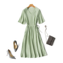 Dress Summer 2020 Purple, gray, sky blue, bean green, pink, scarlet L,XL,2XL,3XL Mid length dress singleton  elbow sleeve commute V-neck High waist Solid color Socket Big swing pagoda sleeve Others 35-39 years old Type X Other / other Ol style Pocket, lace up XQ solid V-neck small flared sleeve dress