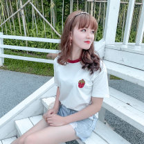 T-shirt white XXS,XS,S Summer 2021 Short sleeve Crew neck Self cultivation Regular routine commute cotton 96% and above Korean version youth Plants and flowers, solid color, splicing Other / other Stitching, embroidery
