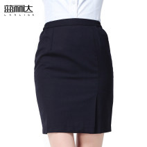 skirt Summer 2020 S,M,L,XL,2XL,3XL,4XL,5XL Middle-skirt Versatile Natural waist Suit skirt Solid color Type O Q-001/2 More than 95% polyester fiber