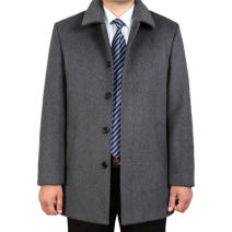 woolen coat 170/M,175/L,180/XL,185/XXL,190/XXXL,195/XXXXL Others Business gentleman Wool 65% Cashmere (cashmere) 35% Medium length go to work easy old age Lapel Single breasted Business Casual Solid color winter Side seam pocket wool 50% (inclusive) - 69% (inclusive)