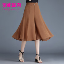 Casual pants Black, red, khaki M,L,XL,2XL,3XL,4XL,5XL Summer 2020 Cropped Trousers Wide leg pants High waist commute Thin money 31% (inclusive) - 50% (inclusive) other Korean version pocket