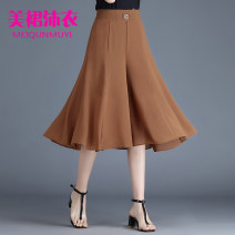 Casual pants Black, red, khaki M,L,XL,2XL,3XL,4XL,5XL Summer 2020 Cropped Trousers Wide leg pants High waist commute Thin money 31% (inclusive) - 50% (inclusive) other Korean version pocket