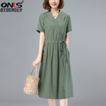 Dress Pleated pockets with lace up buttons Summer 2021 Medium length skirt Short sleeve commute singleton  V-neck Solid color High waist Condom 40-49 years old routine A-line skirt More than 95% cotton Cotton 100% Type A Korean version ONLSXXG210101 Oulileisha / onylisha M L XL XXL