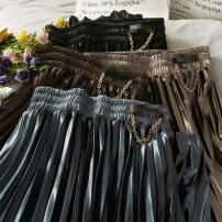 skirt Autumn 2020 Average size Black, brown, blue, khaki Mid length dress Versatile High waist Pleated skirt 18-24 years old A278850 30% and below other other
