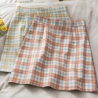 skirt Summer 2021 S,M,L,XL Khaki, pink Short skirt Versatile High waist Pleated skirt lattice Type A 18-24 years old A281011 30% and below other other