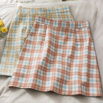 skirt Summer 2021 S,M,L,XL Khaki, pink Short skirt Versatile High waist Pleated skirt lattice Type A 18-24 years old A281011 30% and below other other