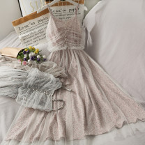 Dress Summer 2021 01,02,03,04 Average size longuette singleton  Sleeveless High waist Broken flowers camisole 18-24 years old A281191 30% and below other other