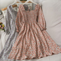 Dress Spring 2021 Average size longuette singleton  Long sleeves commute square neck 18-24 years old Type A Korean version 30% and below other other