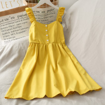 Dress Spring 2020 Average size Middle-skirt singleton  Short sleeve High waist Solid color Flying sleeve camisole 18-24 years old 30% and below other