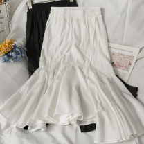 skirt Summer 2021 Average size White, black Mid length dress Versatile High waist Irregular Solid color 18-24 years old A281374 30% and below other other