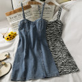 Dress Summer 2021 Black, dark grey, blue, leopard print M, L Short skirt singleton  Sleeveless High waist Solid color camisole 18-24 years old A281365 30% and below other other