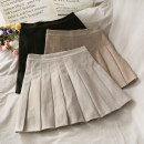 skirt Summer 2020 S,M,L,XL Apricot, khaki, black, gray Short skirt High waist Pleated skirt Solid color 18-24 years old A276776 30% and below