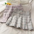 skirt Summer 2020 S,M,L Short skirt Versatile High waist Pleated skirt lattice Type A 18-24 years old 30% and below