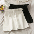 skirt Summer 2020 S,M,L Gray, black, white Short skirt High waist Solid color 18-24 years old A276257 30% and below