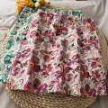 skirt Summer 2021 S,M,L,XL Green, red, blue Short skirt High waist Broken flowers 18-24 years old A281273 30% and below other