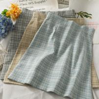 skirt Summer 2021 S,M,L,XL Short skirt Versatile High waist A-line skirt lattice 18-24 years old 30% and below other other