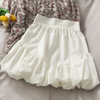 skirt Summer 2021 Average size White, black Short skirt High waist A-line skirt Solid color Type A 18-24 years old A281199 30% and below other other
