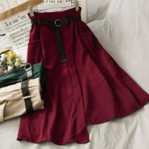 skirt Autumn 2020 S,M,L Black, Burgundy, green, khaki Mid length dress High waist Irregular 18-24 years old A278235 30% and below other