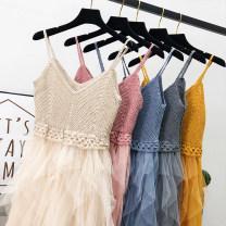 Dress Summer of 2019 Average size Mid length dress singleton  Sleeveless V-neck High waist Solid color Irregular skirt camisole 18-24 years old