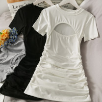 Dress Summer 2021 Gray, white, black Average size Short skirt Short sleeve Crew neck Elastic waist Solid color Socket One pace skirt 18-24 years old A281239 30% and below