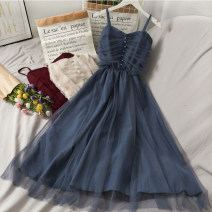 Dress Autumn 2020 Black, brown, red, blue, apricot, caramel Average size longuette singleton  Sleeveless camisole 18-24 years old A279640 30% and below other other