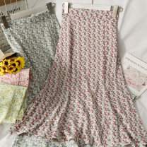 skirt Summer 2021 M, L 07 # blue , 08 # Pink , 09 # yellow , 11 # blue , No.10 # Pink , 12 # yellow , thirteen # violet longuette Broken flowers 18-24 years old A281454 30% and below