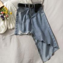 skirt Summer 2021 S,M,L,XL blue Versatile High waist Irregular 18-24 years old A281144 30% and below