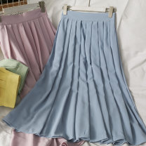 skirt Summer 2021 Average size Blue, green, yellow, apricot, pink Mid length dress High waist Pleated skirt Solid color 18-24 years old A281488 30% and below