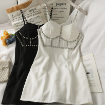 Dress Summer 2021 Black, white S, M Short skirt singleton  Sleeveless High waist Solid color camisole 18-24 years old A281325 30% and below