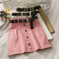 skirt Summer 2020 S,M,L White doesn't go with the belt, pink doesn't go with the belt, khaki doesn't go with the belt, black doesn't go with the belt Short skirt High waist Solid color 18-24 years old A276724 30% and below
