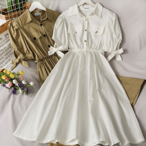 Dress Summer 2021 Black, white, khaki Average size Middle-skirt singleton  Short sleeve High waist Solid color Single breasted 18-24 years old A281118 30% and below