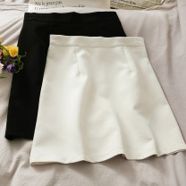 skirt Summer 2021 S,M,L,XL White, black Short skirt Versatile High waist A-line skirt Solid color 18-24 years old 30% and below